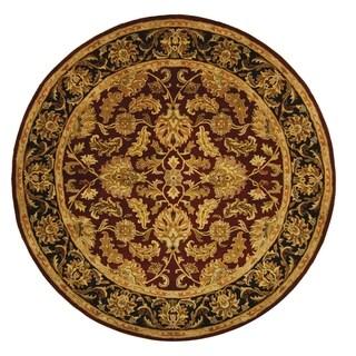 Safavieh Handmade Heritage Traditional Kashan Burgundy/ Black Wool Rug (8' Round)
