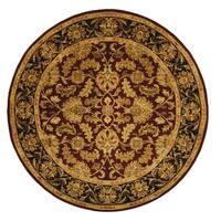 Safavieh Handmade Heritage Traditional Kashan Burgundy/ Black Wool Rug - 8' x 8' Round