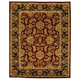 Safavieh Handmade Heritage Traditional Kashan Burgundy/ Black Wool Rug (8' x 10')