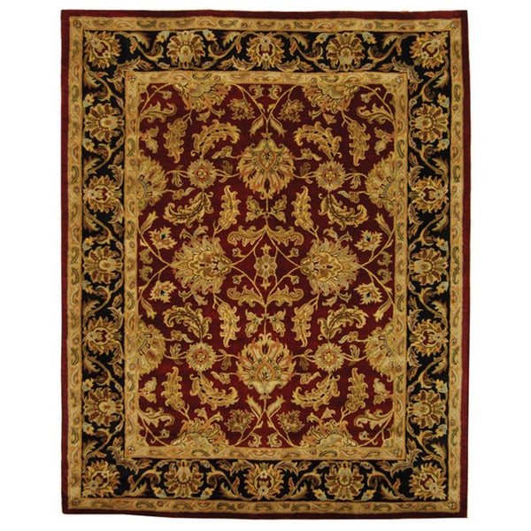 Safavieh Handmade Heritage Traditional Kashan Burgundy/ Black Wool Rug (8' x 10')