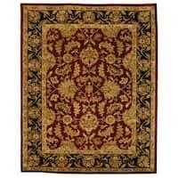 Safavieh Handmade Heritage Traditional Kashan Burgundy/ Black Wool Rug - 8' x 10'