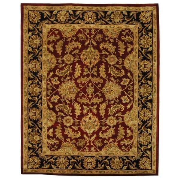 "Safavieh Handmade Heritage Traditional Kashan Burgundy/ Black Wool Rug - 8'3"" x 11'"