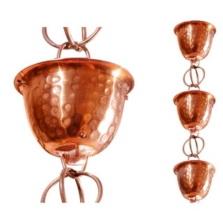 Monarch Pure Copper Hammered Cup Rainchain 8.5-Foot Inclusive of Installation Hanger