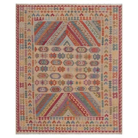 Handmade One-of-a-Kind Wool Kilim (Afghanistan) - 7'11 x 9'9