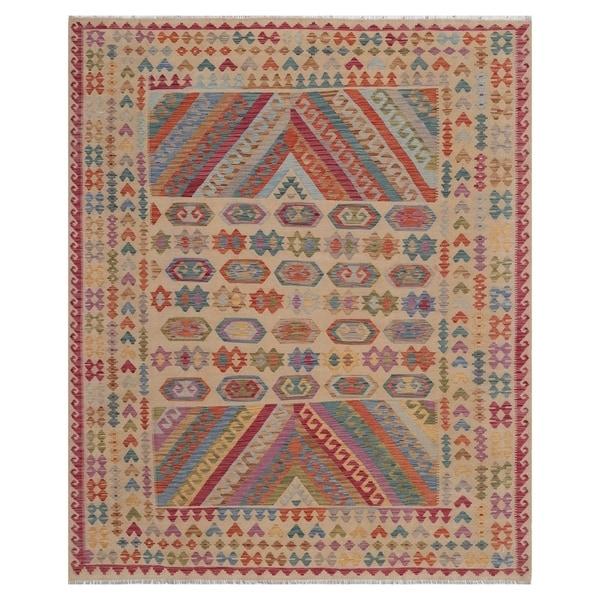Handmade One-of-a-Kind Wool Kilim (Afghanistan) - 7'11 x 9'9. Opens flyout.