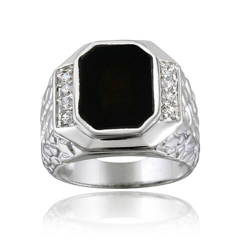Icz Stonez Sterling Silver Men's Onyx CZ Ring
