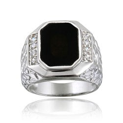 Icz Stonez Sterling Silver Men S Onyx CZ Ring