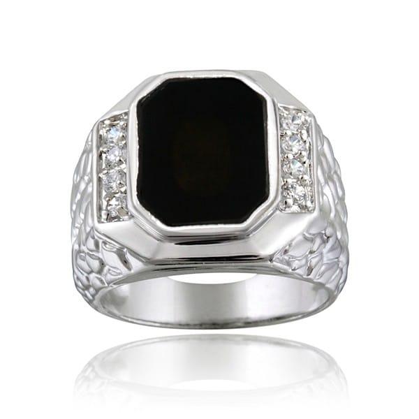 shop icz stonez sterling silver men 39 s onyx cz ring on. Black Bedroom Furniture Sets. Home Design Ideas