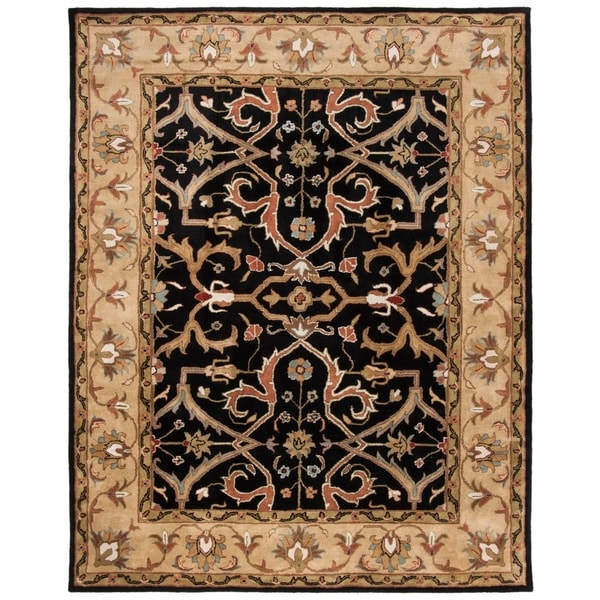 "Safavieh Handmade Heritage Timeless Traditional Charcoal Grey/ Ivory Wool Rug - 8'3"" x 11'"