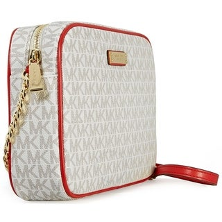 Michael Kors Large East/West Vanilla/Red Crossbody - L