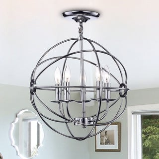 Link to Karthika Chrome Metal 5-Light Chandelier Similar Items in Chandeliers