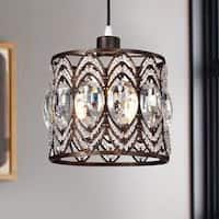 Peredur Rustic Bronze 1-Light Pendant with Crystal Shade