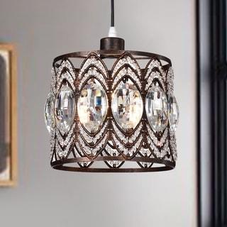 Peredur Rustic Bronze 1-Light Pendant with Crystal Shade