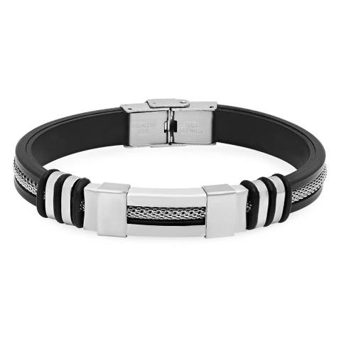 Steeltime Men's Black Rubber Bracelet with Stainless Steel Mesh Inlay