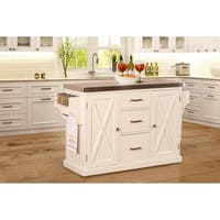 Hillsdale Brigham Kitchen Island in White with Stainless Steel Top
