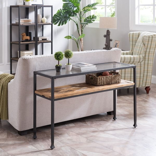 Harper Blvd Jersea Rustic Black and Aged Natural Console Table