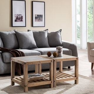 Cleirigh Aged Natural and Cement Gray Bunching Cocktail Table Set