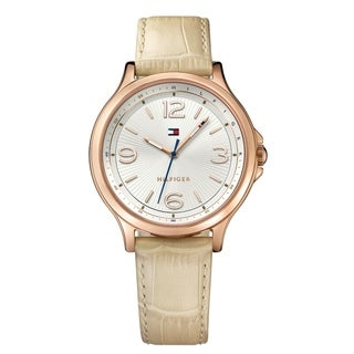 Tommy Hilfiger Beige and Rose Gold Amelia Leather Women's Watch