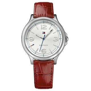 Tommy Hilfiger Burgundy and Silver Amelia Leather Women's Watch