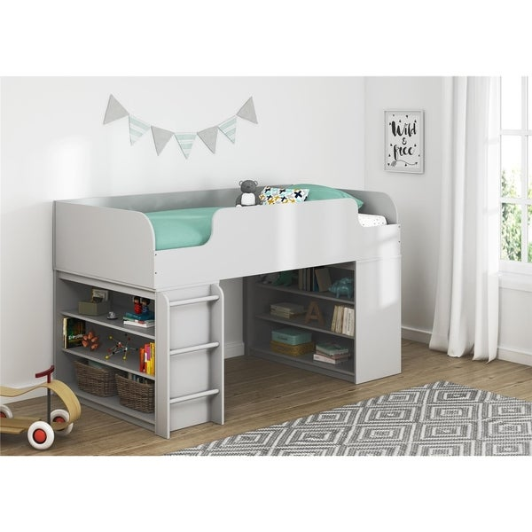 Avenue Greene Raven Loft Bed with 2 Bookcases Size - Twin