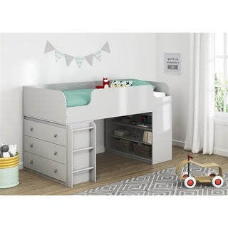 Avenue Greene Raven Loft Bed with Bookcase and 3 Drawer Dresser