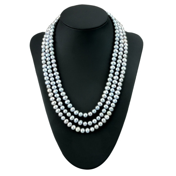 Sterling Silver Freshwater Cultured Pearl 3 Row 22 Necklace