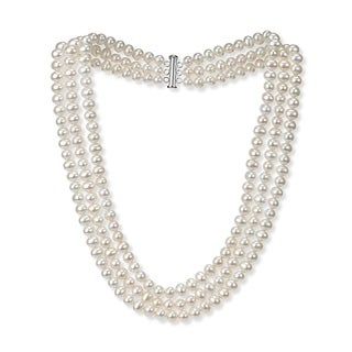 """DaVonna Sterling Silver 6-7mm Freshwater Cultured High Luster Pearl 3-rows Necklace, 18"""""""