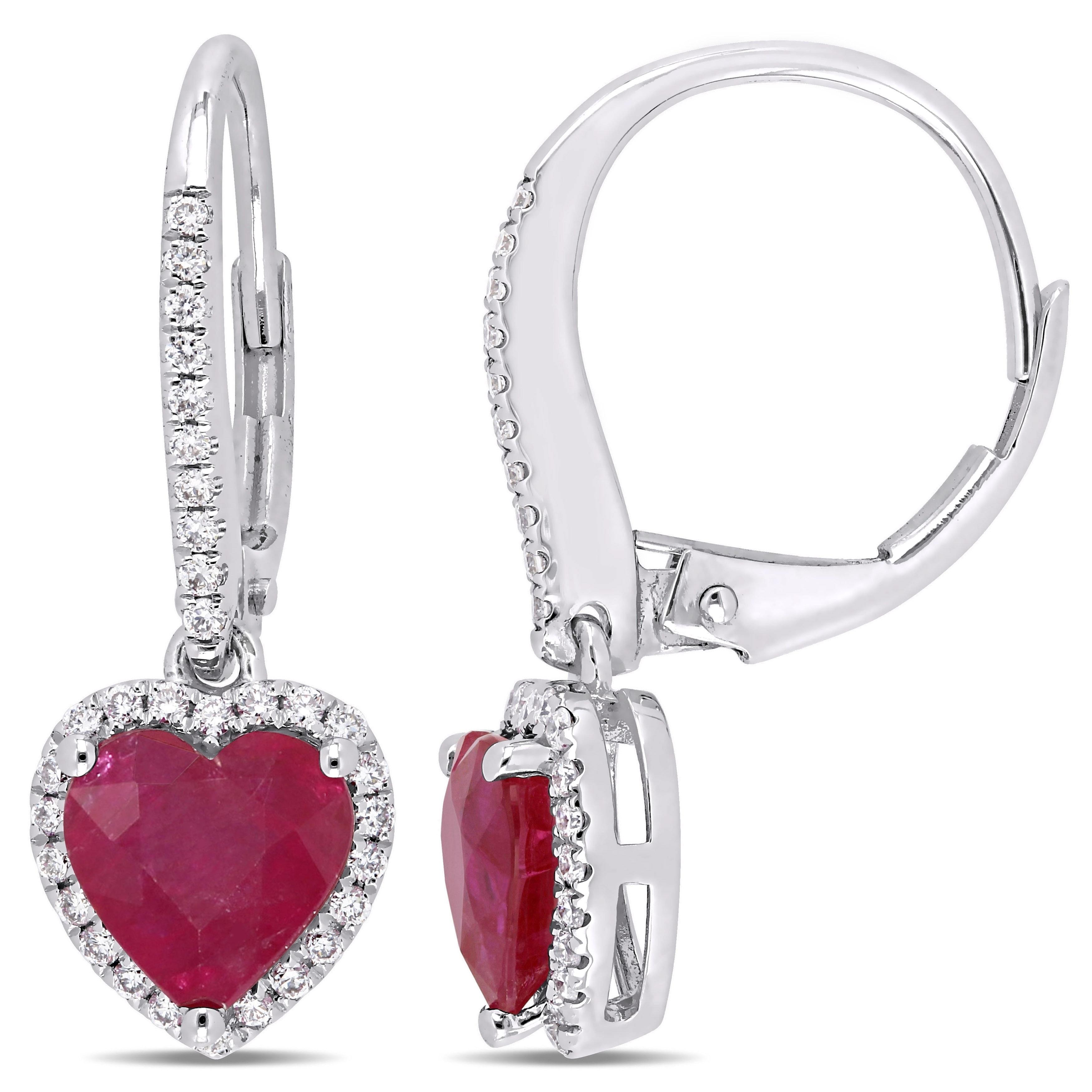 1 Ct Created Diamond Halo Ruby Heart Dangle Leverback Earrings 14K White Gold