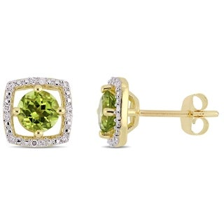 Link to Miadora 10k Yellow Gold Peridot and Diamond Accent Floating Square Halo Stud Earrings Similar Items in Earrings