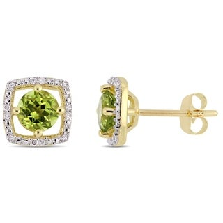 Miadora 10k Yellow Gold Peridot and Diamond Accent Floating Square Halo Stud Earrings