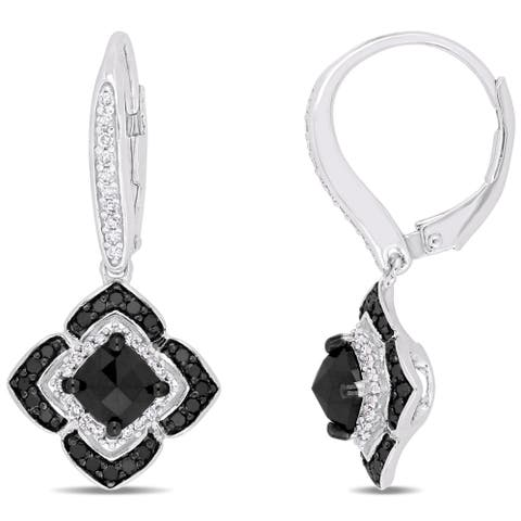 Miadora Signature Collection Sterling Silver 1-1/2ct TDW Black and White Diamond Floral Halo Leverback Earrings