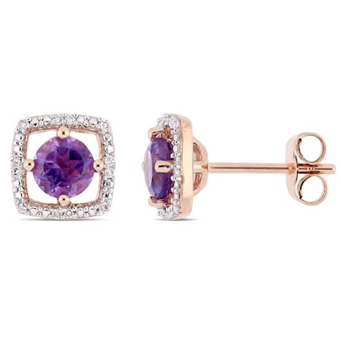 Miadora 10k Rose Gold Amethyst and Diamond Accent Floating Square Halo Stud Earrings