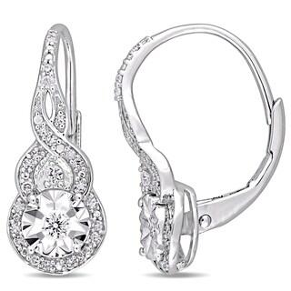 Miadora Sterling Silver 1/4ct TDW Diamond Halo Twist Leverback Earrings