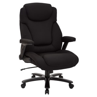 Big and Tall Deluxe High-Back Executive Office Chair in Black Fabric