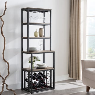 Harper Blvd Aldwynne Rustic Black with Distressed Fir Bakers Rack