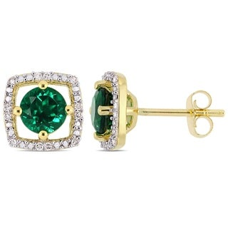 Link to Miadora 10k Yellow Gold Created Emerald and Diamond Accent Floating Square Halo Stud Earrings Similar Items in Earrings