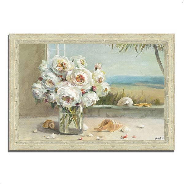 """Coastal Roses v.2"" by Danhui Nai, Framed Painting Print,Ready to Hang"