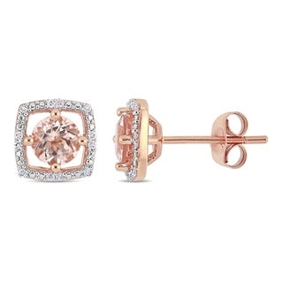 Link to Miadora 10k Rose Gold Morganite and Diamond Accent Floating Square Halo Stud Earrings Similar Items in Earrings