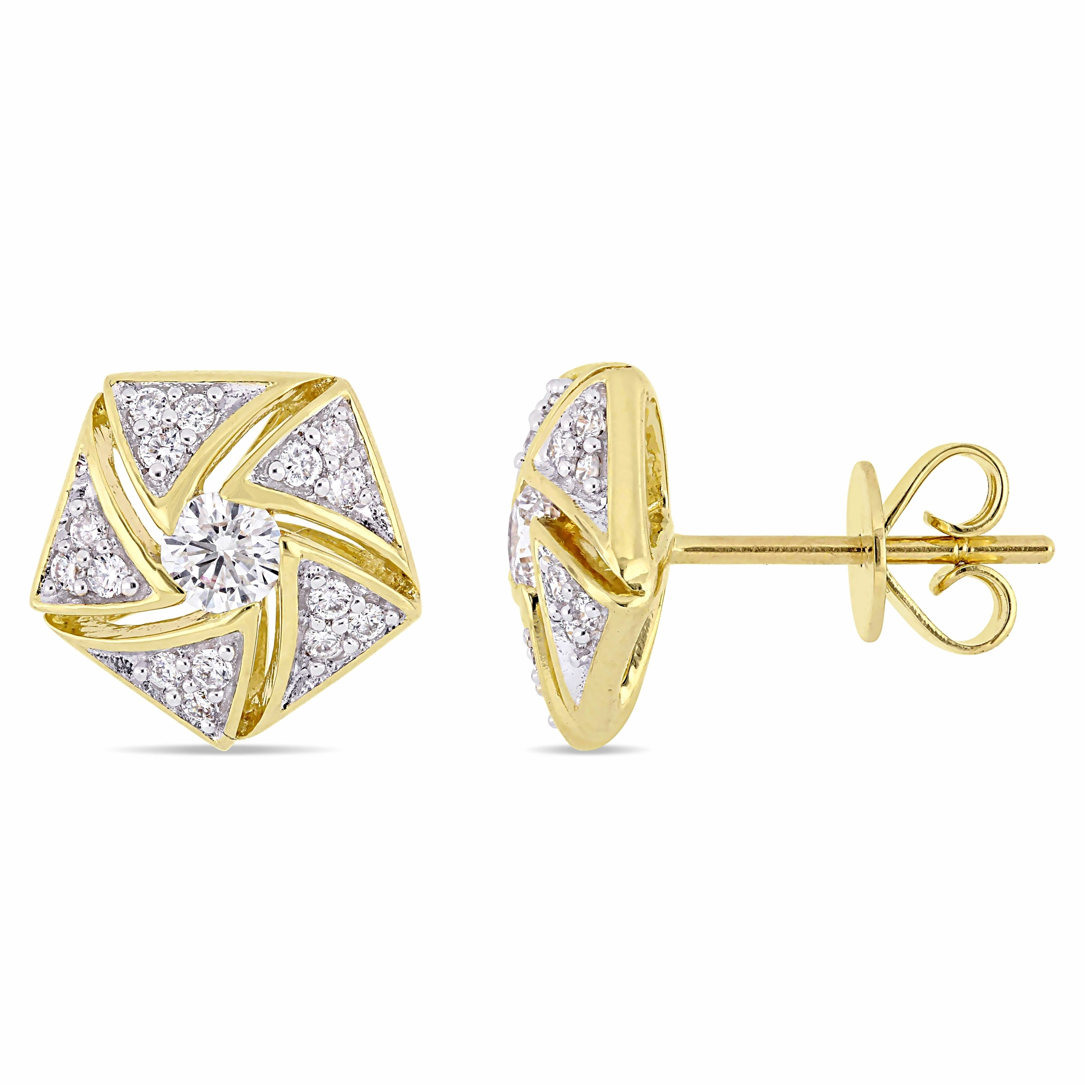 0.19 ct. tw. 14k Gold Genuine Sapphire Flower Dangle Earring Jackets with Sapphire