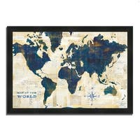 """World Map Collage"" by Sue Schlabach, Framed Painting Print, Ready to Hang"