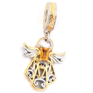 Michael Valitutti Palladium Silver Baguette Citrine Scrollwork Angel November Birthstone Drop Charm - YELLOW