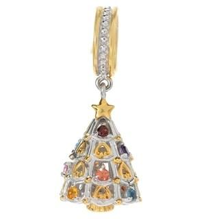 Michael Valitutti Palladium Silver Multi Gemstone Christmas Tree Drop Charm - YELLOW