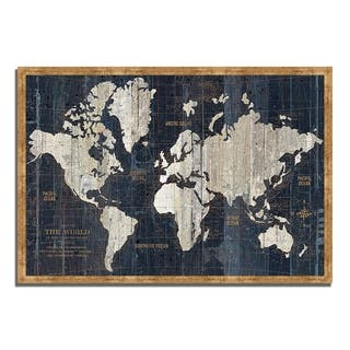"""Old World Map Blue"" by Wild Apple Portfolio, Framed Painting Print, Ready to Hang"