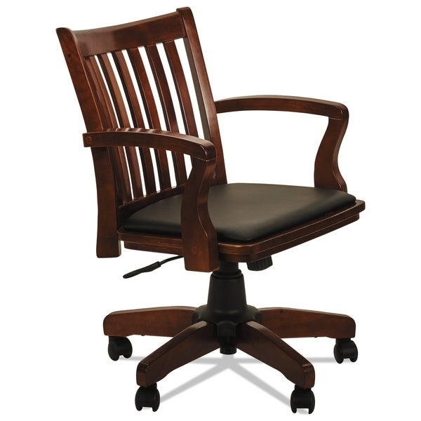 Alera Postal Series Cherry/Black Slat-Back Wood/Leather Chair