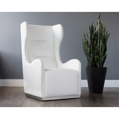 Sunpan Club Franny Leather Swivel Wing Chair