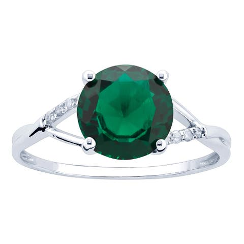 10K White Gold 1.75ct TW Emerald and Diamond Ring - Green