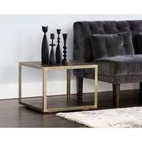 Sunpan Zenn Mara Smoked Mocha/Antique Brass Wood/Steel Contemporary End Table