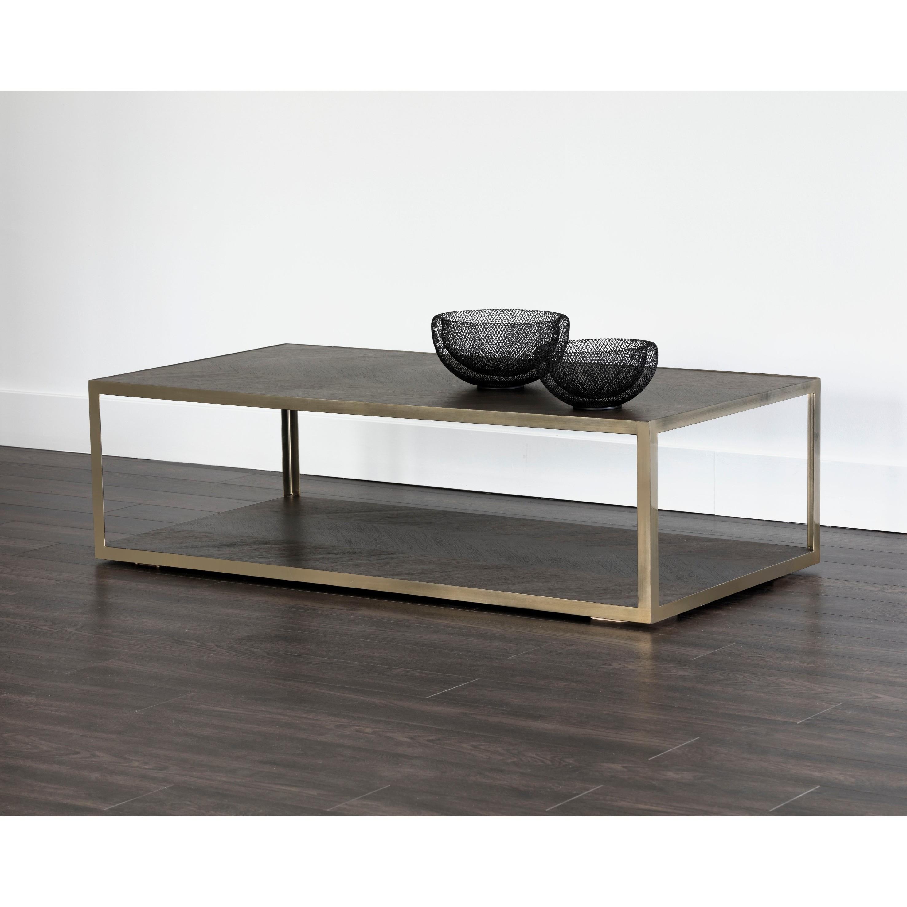 Sunpan Zenn Mara Smoked Mocha Wood Steel Coffee Table
