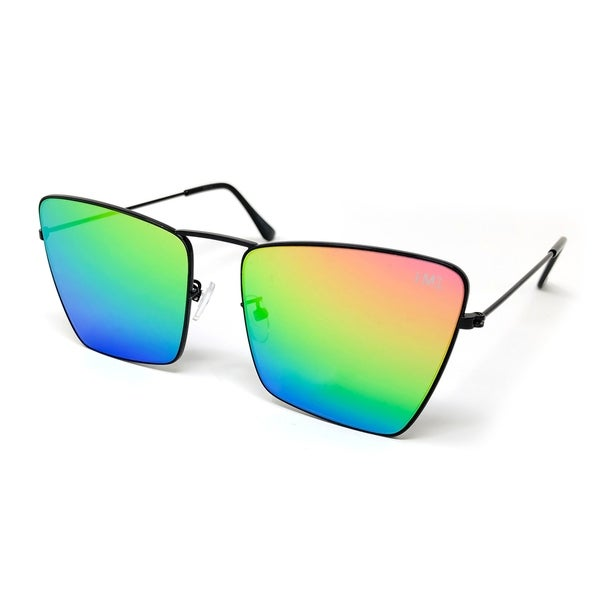 9390e236ca8 I  x27 M1 Mens Thin Black Square Metal Sunglasses in Rainbow Mirrored Lens
