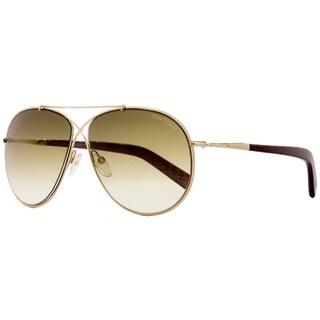 Tom Ford TF374 Eva 28F Womens Rose Gold/Chalkstripe Brown 61 mm Sunglasses - rose gold/chalkstripe brown